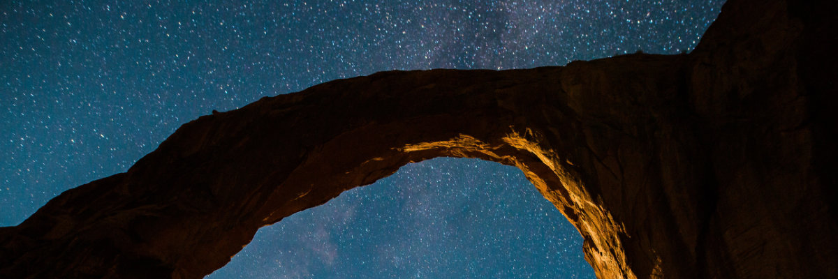 An arch underneath the night sky