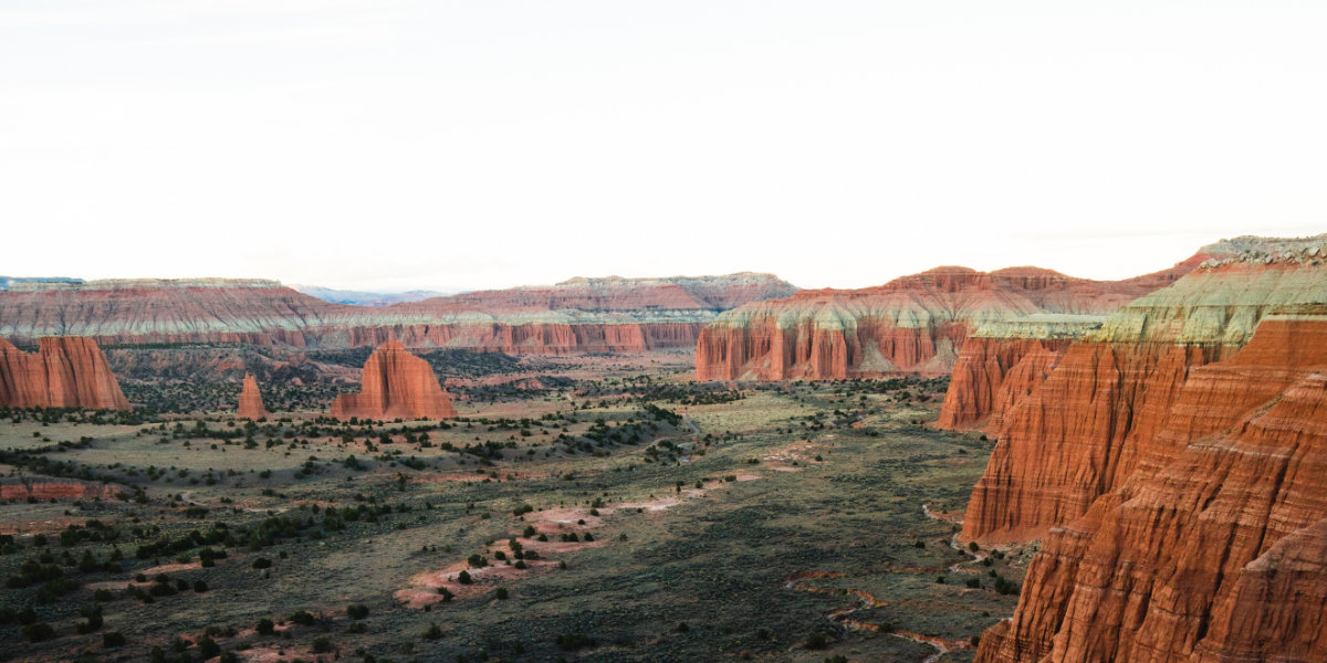 Monolith sandstone formations in Capitol Reef