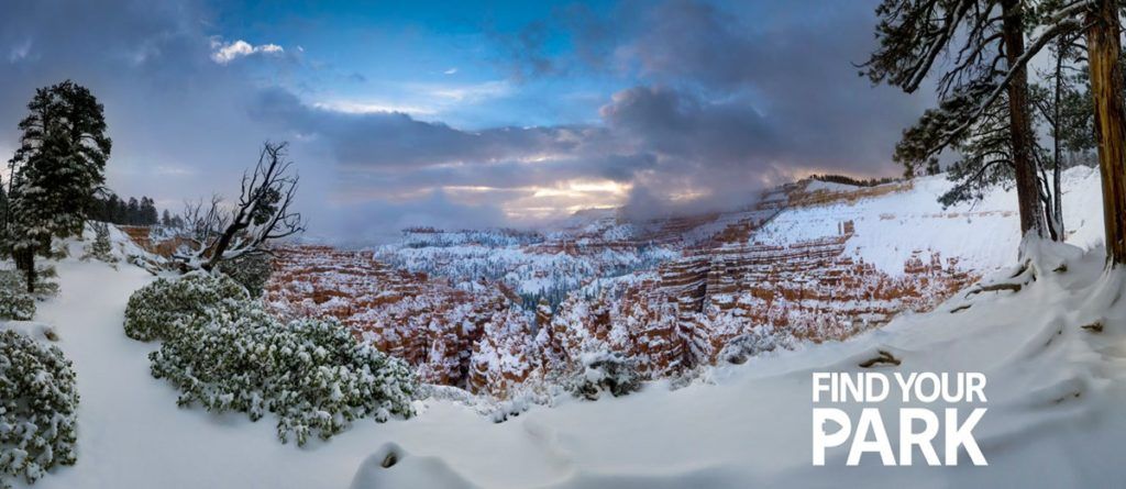 An image of Bryce Canyon in snow from the official website