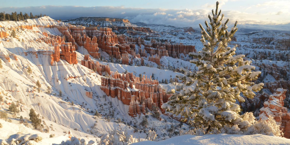 Bryce Canyon is covered in snow