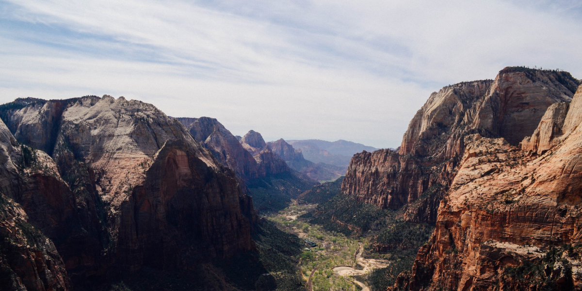 Looking down at Zion Canyon