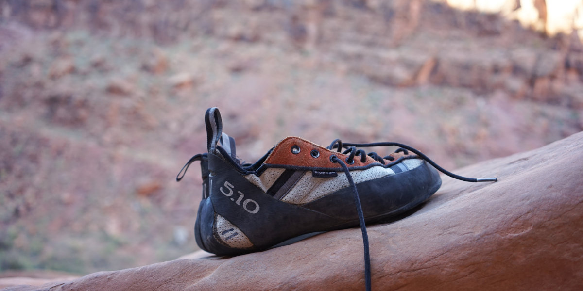 A climbing shoe in Zion National Park