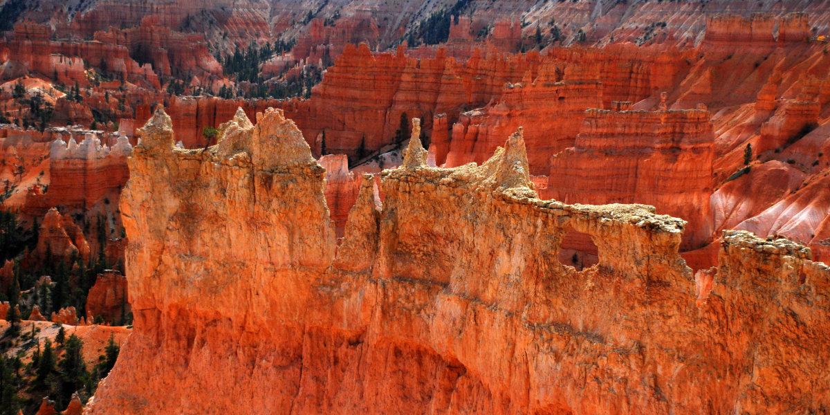 The bright orange hoodoos and rock formations of Bryce Canyon's amphitheatre