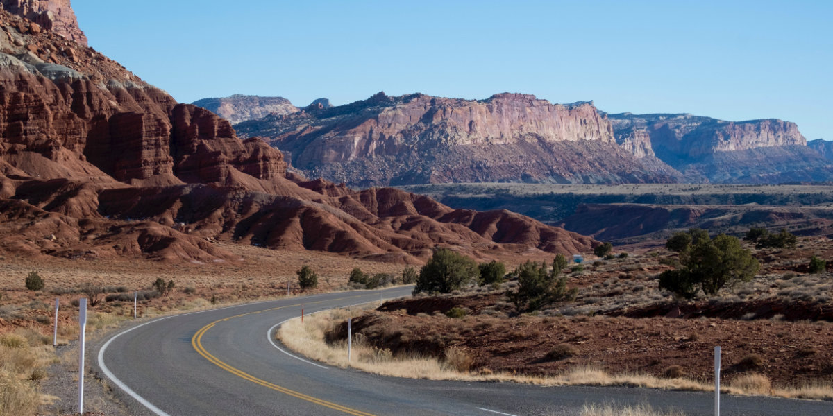 An open road in Capitol Reef