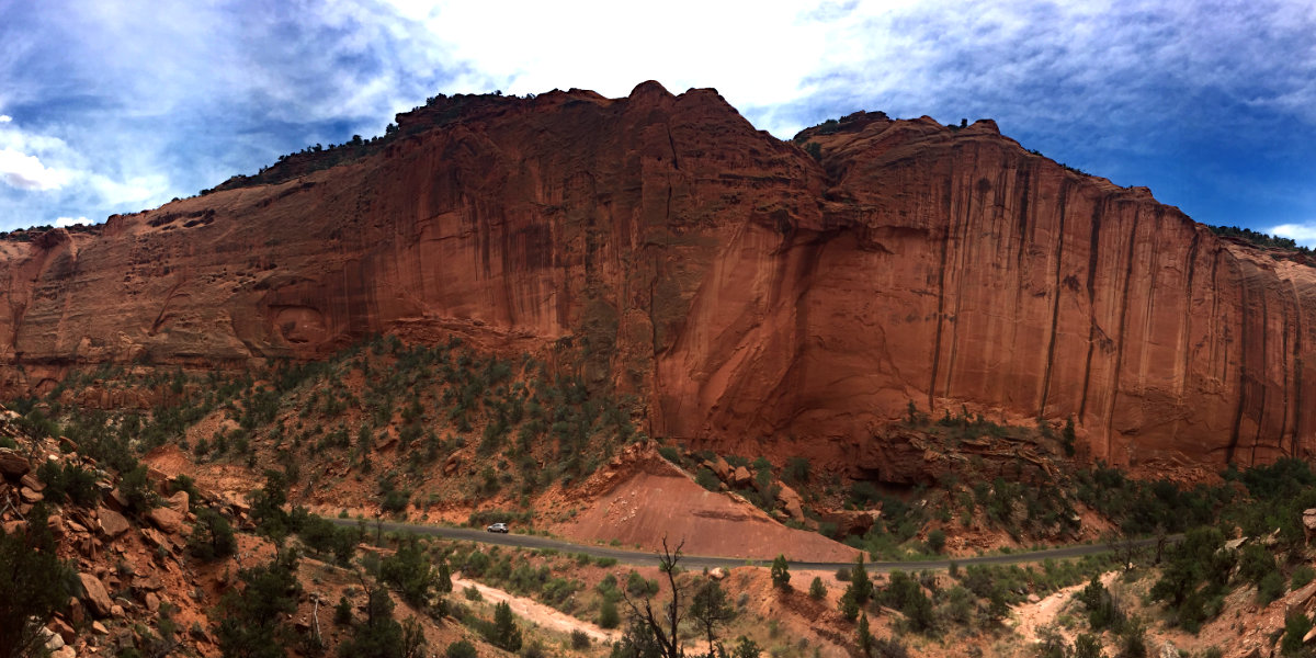 Sheer red sandstone canyon walls