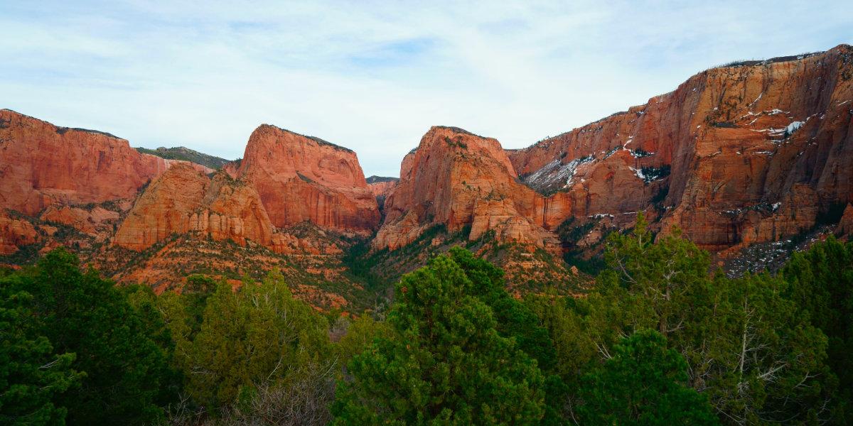 Red sandstone monoliths at dusk
