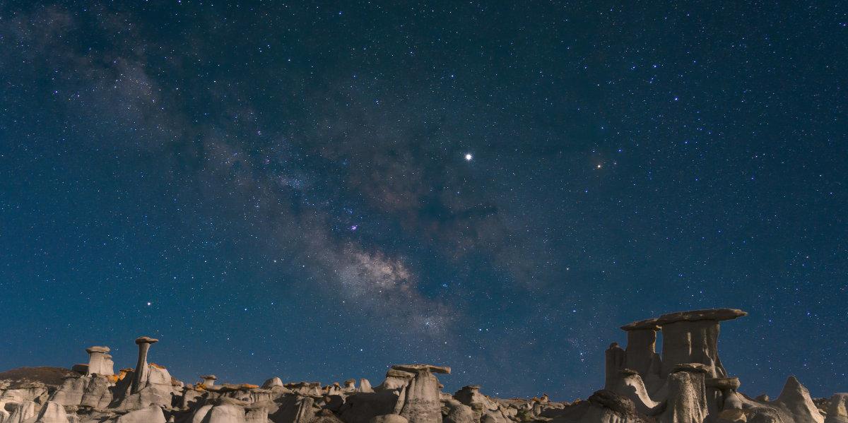 Hoodoo formations at night