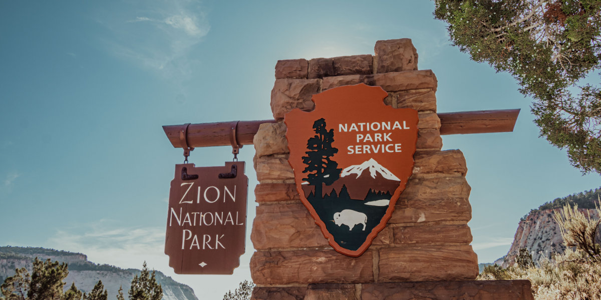 The national park service sign in Zion National Park
