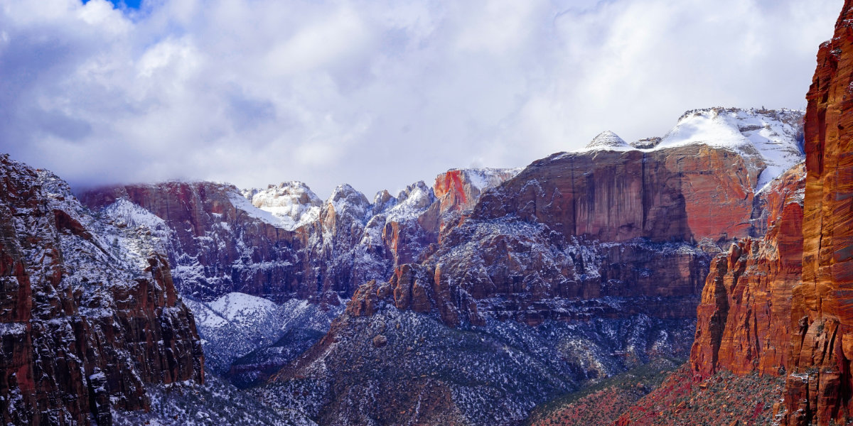 Zion National Park covered in snow