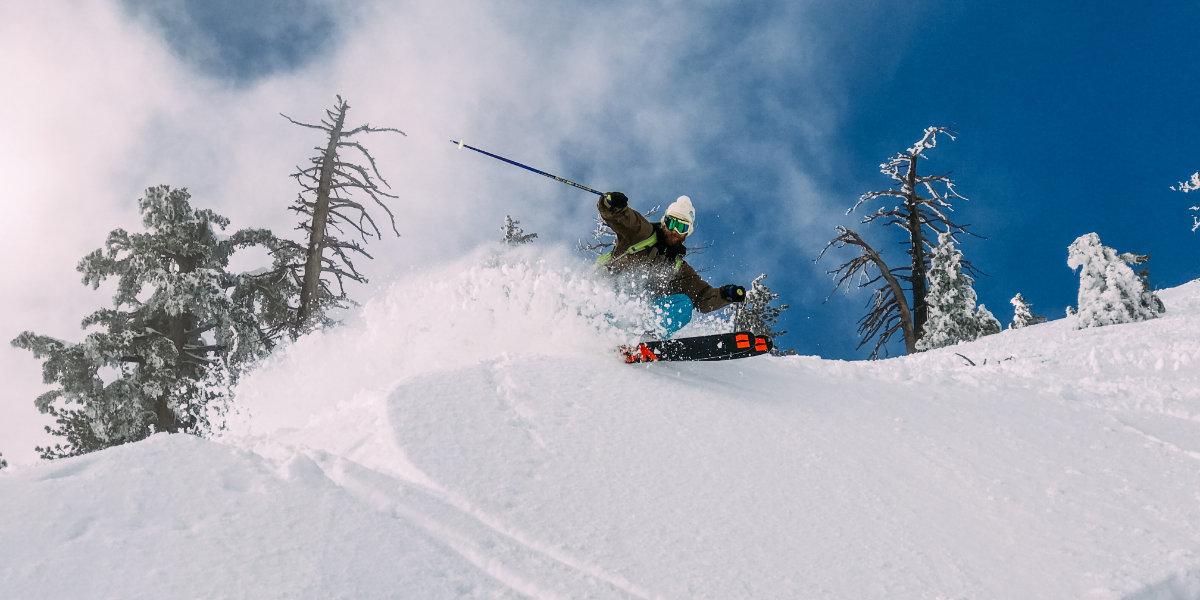 A skier in fresh powder