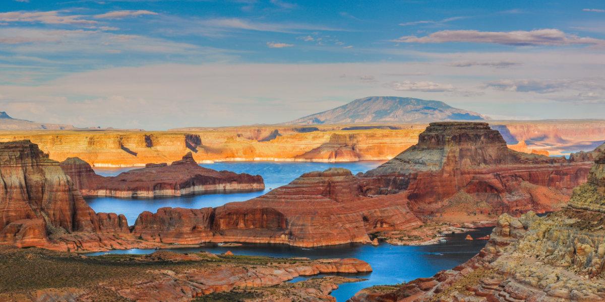 An overlook of a desert lake