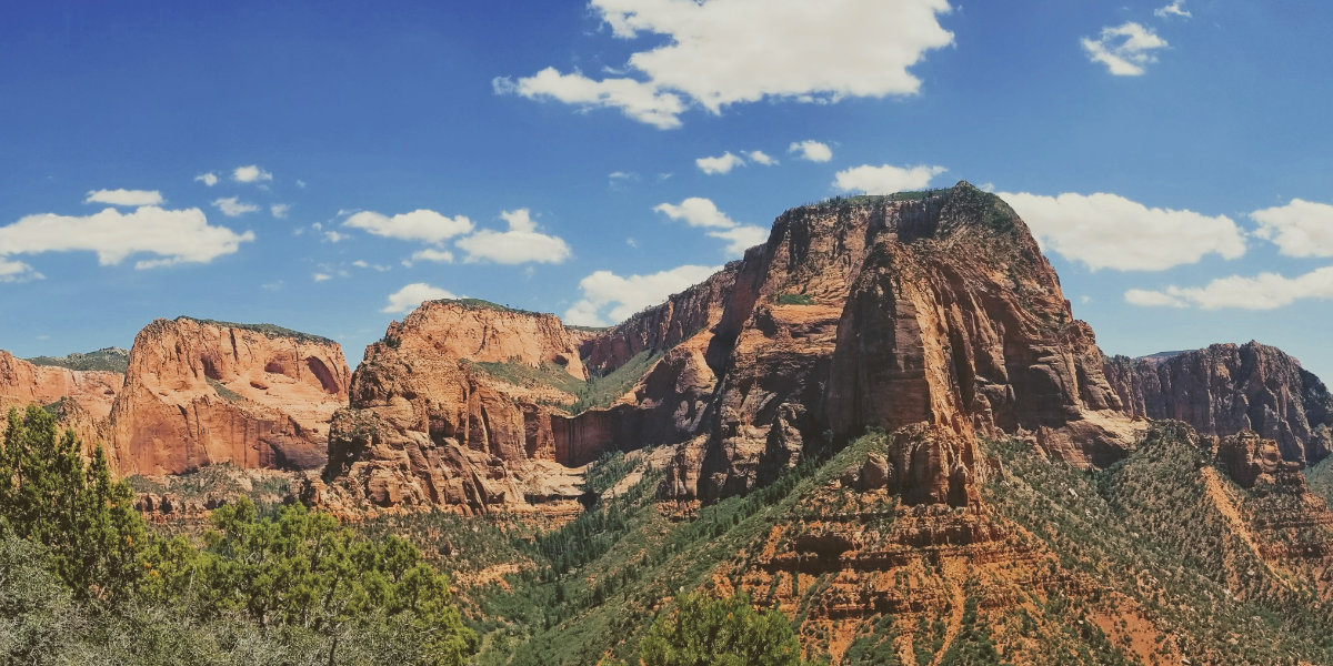 Giant sandstone cliffs covered in pinyon pine trees