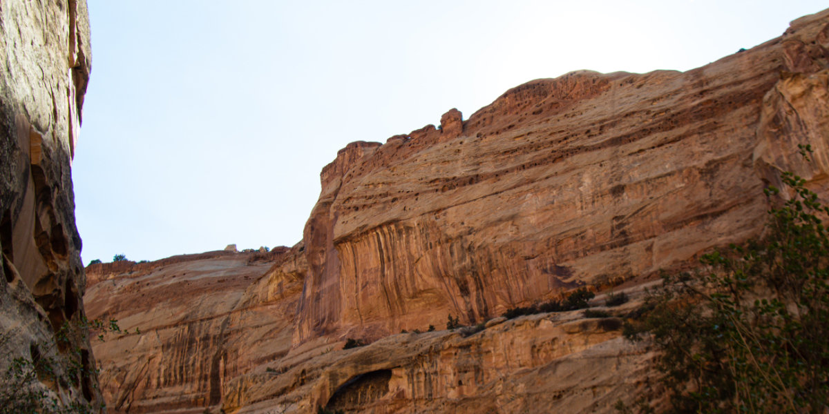 A view of sandstone cliffs of the wash