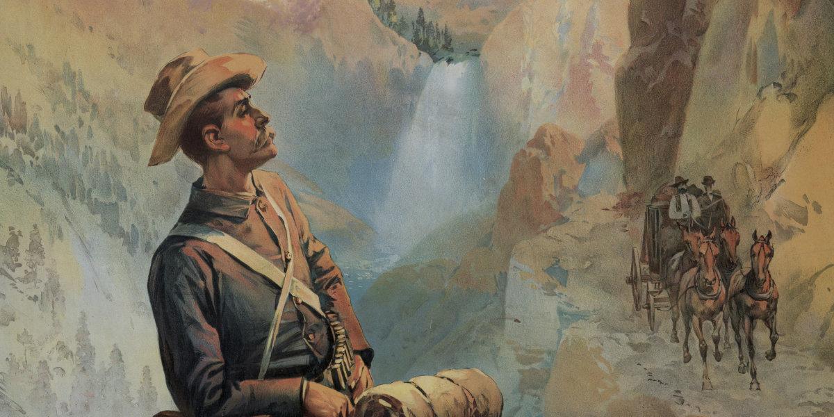 Vintage NPS poster of a park ranger