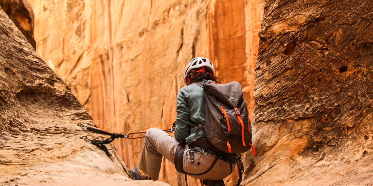 Rock climber in a canyon
