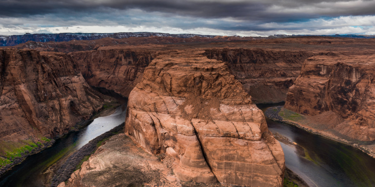 A bend in the Colorado River during a storm