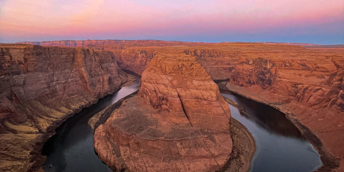 A bend in the Colorado River at sunset