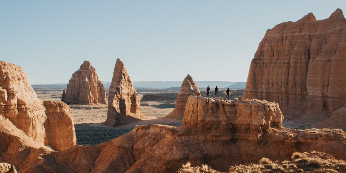 People hiking in Cathedral Valley